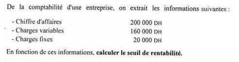 Exercice Comptabilite Analytique Corrige Calculer Le Seuil De Rentabilite D Une Entreprise Cours Et Formation Gratuit